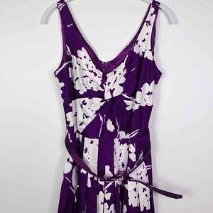 Eliza J Womens  Dress Purple White Midi Floral